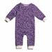 Winter Water Factory French Terry Jumpsuit - Leaves and Flowers in Violet