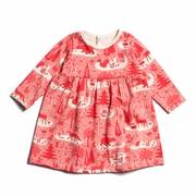 Winter Water Factory Geneva Baby Dress in Winter Forest Red