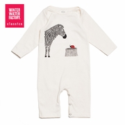 Winter Water Factory Graphic Long Sleeve Romper in Zebra and Ladybug