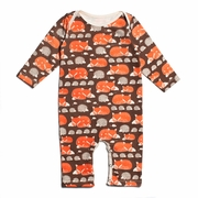 Winter Water Factory Long Sleeve Romper in Foxes and Hedgehogs