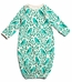 Winter Water Factory Organic Cotton Baby Gown- Birds and Berries in Turquoise