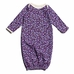 Winter Water Factory Organic Cotton Baby Gown- Leaves and Flowers in Violet