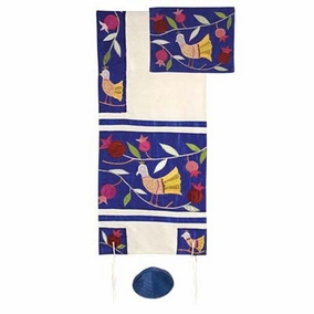 "Birds - blue Raw Silk Tallit Set CAT# TFA - 8, 34"" X 71"""