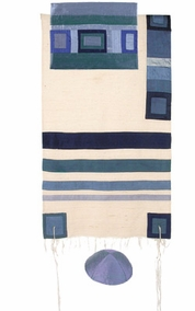 "Blue Raw Silk Tallit with Stripes CAT# TRS- 7, 55"" X 73"""