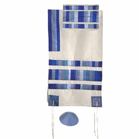 "Blue Tallit Set CAT# TRA - 3, 21"" X 77"""