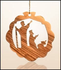Christmas ornaments 2D hanging olivewood CH0-38