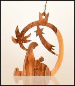 Christmas ornaments 2D hanging olivewood CHO-22