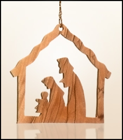 Christmas ornaments 2D hanging olivewood CHO-29