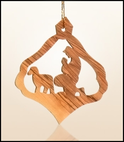 Christmas ornaments 2D hanging olivewood CHO-33