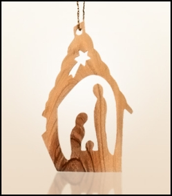 Christmas ornaments 2D hanging olivewood CHO-35