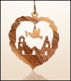 Christmas ornaments 2D hanging olivewood CHO-L2