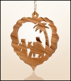 Christmas ornaments 2D hanging olivewood CHO-L6
