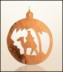 Christmas ornaments 2D hanging olivewood CHO-S11