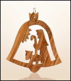 Christmas ornaments 2D hanging olivewood CHO-S15