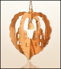 Christmas ornaments 3D hanging olivewood CHO-01X