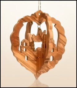 Christmas ornaments 3D hanging olivewood CHO-02X
