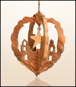 Christmas ornaments 3D hanging olivewood CHO-03X