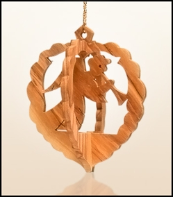 Christmas ornaments 3D hanging olivewood CHO-32X