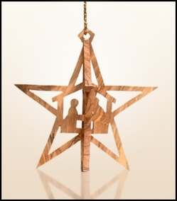 Christmas ornaments 3D hanging olivewood CHO36X