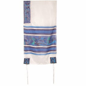"Dove Silk Tallit CAT# TS- 8 white&blue, 21"" X 77"""