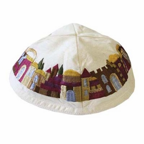 Embroidered Kippah - Jerusalem CAT# YME - 1
