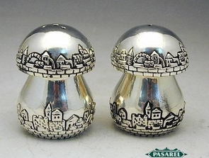 Fine Artisan Sterling Silver Jerusalem Salt & Pepper Shakers Set