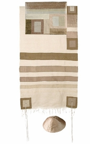 "Gold Raw Silk Tallit with Stripes CAT# TRS- 6, 55"" X 73"""