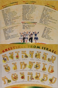 Greetings from Israel and the Hebrew Aphabet Placemat