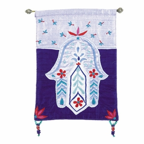 Hamsa – Flowers – Blue Wall Hanging CAT# HS-5