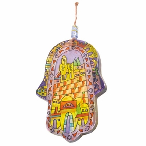 Hand painted glass Hamsa – Large (HG- 1) CAT# HG- 1