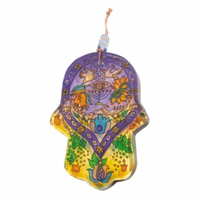 Hand painted glass Hamsa – Large (HG- 4) CAT# HG- 4