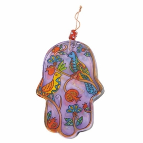 Hand painted glass Hamsa – Large (HG- 5) CAT# HG- 5