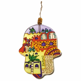 Hand painted glass Hamsa – Large (HG- 6) CAT# HG- 6