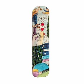 Hand Painted Wooden Mezuzah CAT# MZS- 14