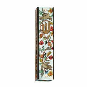 Hand Painted Wooden Mezuzah CAT# MZS- 6
