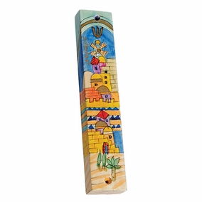 Hand Painted Wooden Mezuzah MZS-22 CAT# MZS - 22