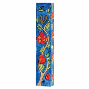 Hand Painted Wooden Mezuzah MZS-23 CAT# MZS - 23