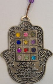 Hebrew Blessing of the House - Hamsa with Breastplate