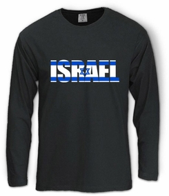 Israel Flag in Letters Long Sleeve T-Shirt