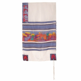 "Jerusalem Dove Silk Tallit CAT# TS- 8 white, 21"" X 77"""