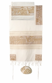 "Jerusalem in Gold Tallit  CAT# TFE- 5, 61"" X 75"""