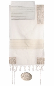 "Jerusalem in Silver Tallit  CAT# THE- 1, 20"" X 75"""