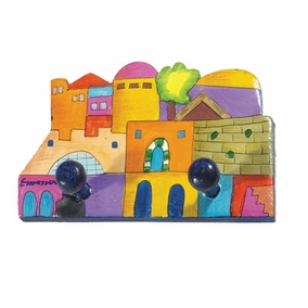 Jerusalem Painted Wooden Key Hanger CAT# WWH- 1