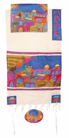 "Jerusalem Silk Tallit CAT# TWS- 10, 42"" X 77"""