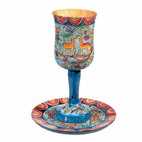 Large Kiddush Cup and Plate CAT# CUL - 2