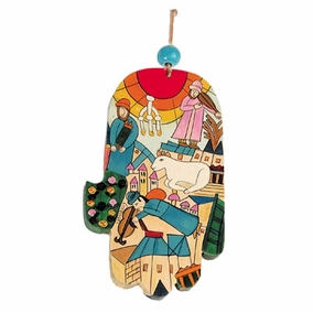 Large Wood Painted Hamsa (HAL- 4) CAT# HAL- 4