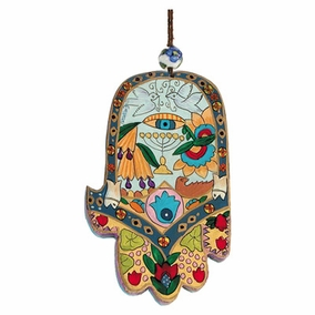 Large Wood Painted Hamsa (HAL- 6) CAT# HAL- 6