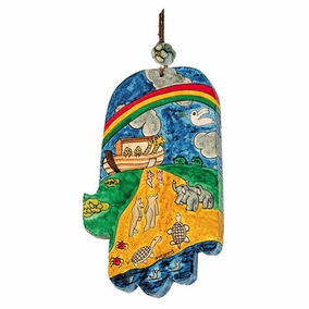 Large Wood Painted Hamsa (HAL- 8) CAT# HAL- 8