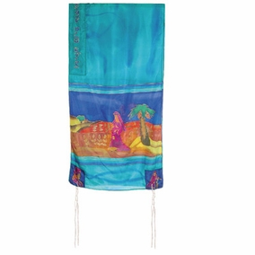 "Miriam and Debora Silk Tallit CAT# TS-2 turq, 21"" X 77"""