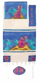 "Miriam and Debora Silk Tallit CAT# TWS- 5, 61"" X 77"""